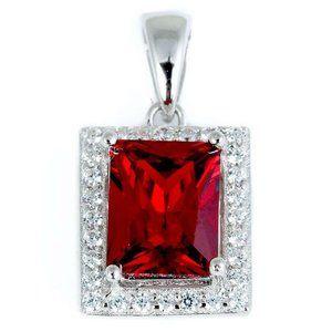 Jewelry - Big radiant cut ruby with diamond pendant women go